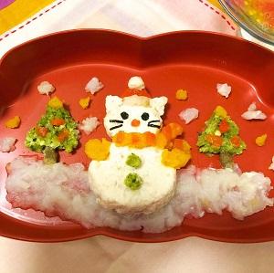 猫の雪だるま弁当