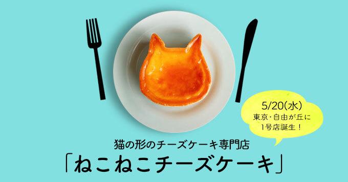 猫の形のチーズケーキ専門店「ねこねこチーズケーキ」5/20(水)に東京・自由が丘に1号店誕生!
